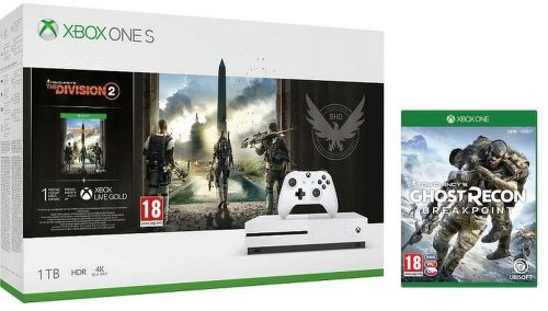 Microsoft Xbox One S 1TB + The Division 2 + Ghost Recon Breakpoint
