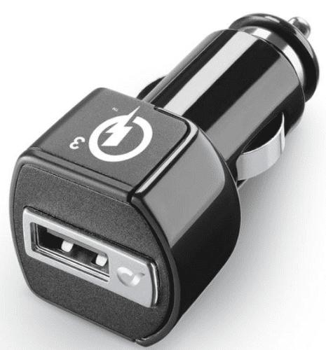 CellularLine autonabíječka s USB-C kabelem QC 3.0 18W 1m, černá