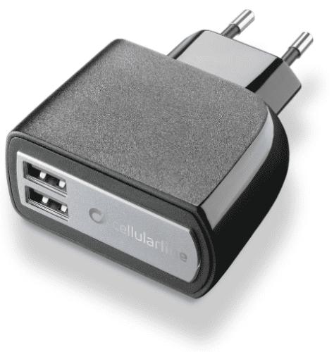 CellularLine 2xUSB Fast Charge nabíječka 3,1A, černá