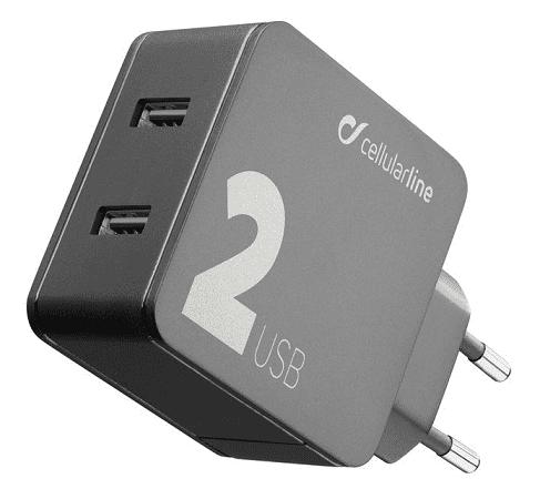 CellularLine Multipower síťová nabíječka 2xUSB 24 W, černá