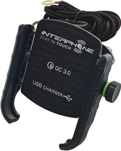 CellularLine Interphone Motocrab držák na telefon s USB portem, černá