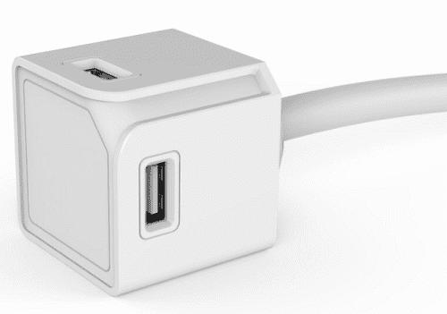 PowerCube Extended rozbočovač 4x USB + 1,5m kabel, bílá