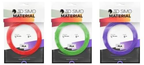 3Dsimo PLA filament 1.75mm 3x 5m (zelený, červený, fialový)