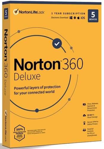Norton 360 Deluxe (1 uživatel, 5 zařízení, 1 rok)
