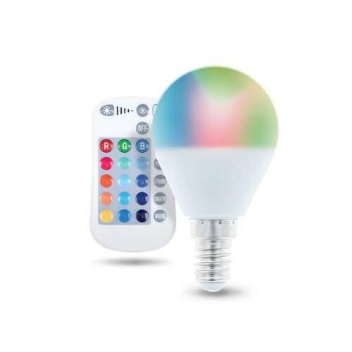 FOREVER E14 G45 RGB RC 5W, LED žiarovka