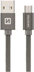 Swissten Textile kabel USB/Micro USB 0,2 m, šedá