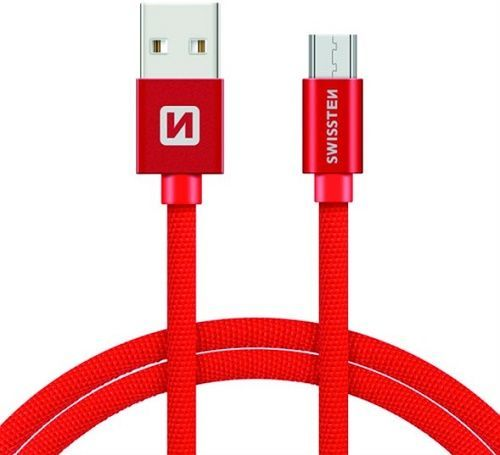 Swissten kabel USB/Micro USB 1,2 m, červená