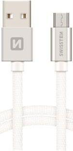 Swissten kabel USB/Micro USB 2,0 m, stříbrná