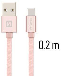 Swissten USB/USB-C kabel 0,2 m, růžově-zlatá