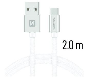 Swissten USB/USB-C kabel 2,0 m, stříbrná