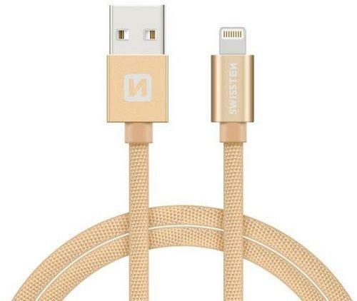 Swissten Lightning datový kabel 2m, zlatá