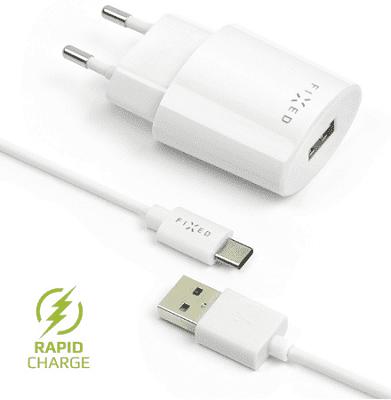 Fixed síťová nabíječka + dátový kabel USB-C 2,4 A, bílá