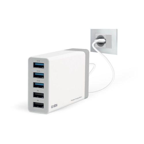 SBS cestovní nabíječka 5 x USB 7000 mA bílá