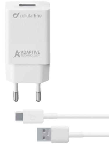 CellularLine nabíječka s USB-C kabelem 15W 1m, bílá