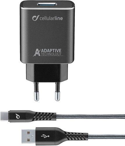 CellularLine Tetra Force nabíječka 15W + USB/USB-C kabel 1m, černá