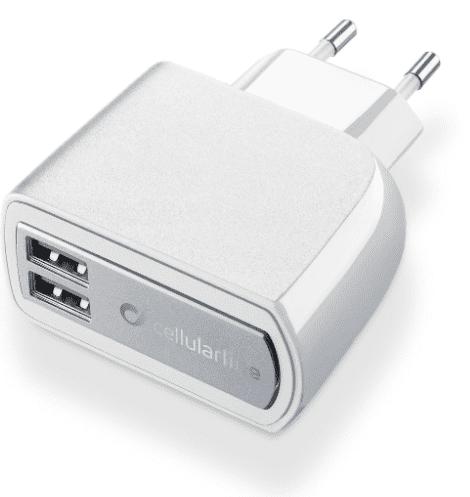 CellularLine 2xUSB Fast Charge nabíječka 3,1A, bílá