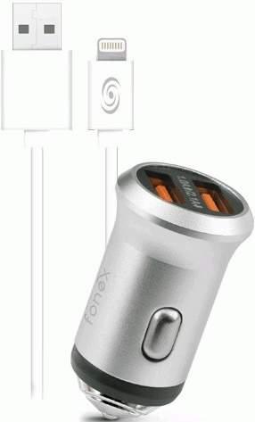 Fonex 2x USB autonabíječka, stříbrná + kabel USB/Lightning