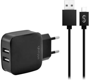 Fonex 2x USB nabíječka + kabel USB/Mirco USB, černá