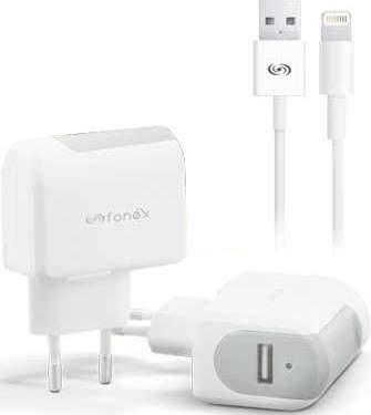 fonex-usb-10-w-2-1-a-biela-1-m-lightning-kabel