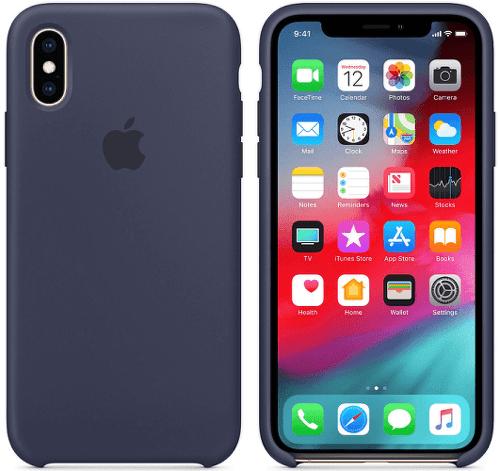 Apple silikonový kryt pro iPhone XS, půlnočně modrý