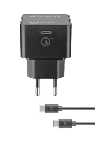 Cellular Line USB-C 30 W nabíječka, černá + USB-C - USB-C kabel 1m
