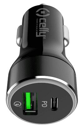 Celly USB-C/USB-A 42 W autonabíječka, černá