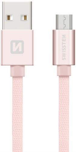 Swissten Textile kabel USB/Micro USB 0,2 m, růžovo-zlatá