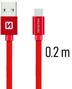 Swissten USB/USB-C kabel 0,2 m, červená