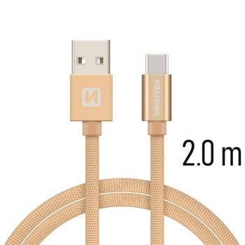Swissten USB/USB-C kabel 2,0 m, zlatá