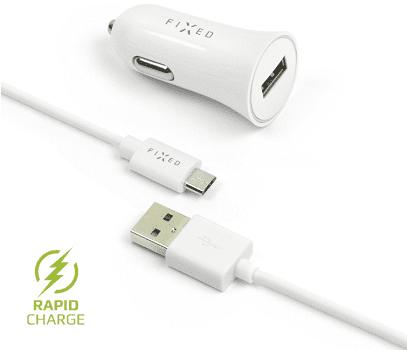 Fixed autonabíječka + dátový kabel micro USB 2,4 A, bílá