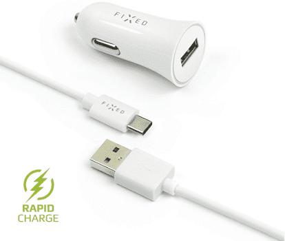 Fixed autonabíječka + dátový kabel USB-C 2,4 A, bílá