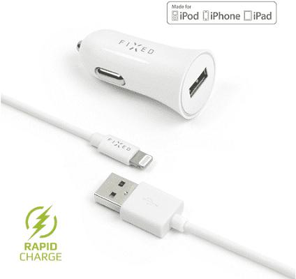 Fixed autonabíječka + dátový kabel Lightning 2,4 A, bílá