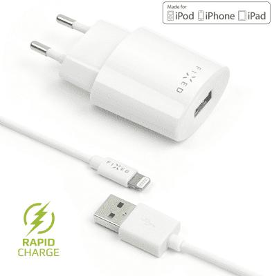 Fixed síťová nabíječka + dátový kabel Lightning 2,4 A, bílá