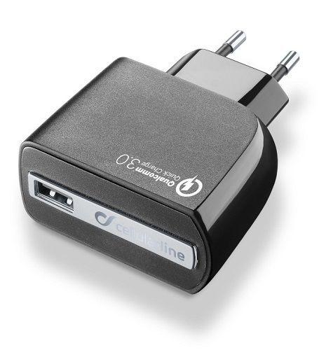 CellularLine Quick Charge 3.0 1xUSB 18W nabíječka, černá