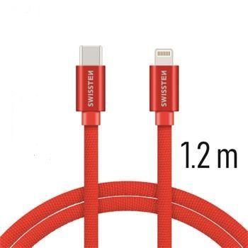 Swissten USB-C/Lightning datový kabel 1,2m, červená