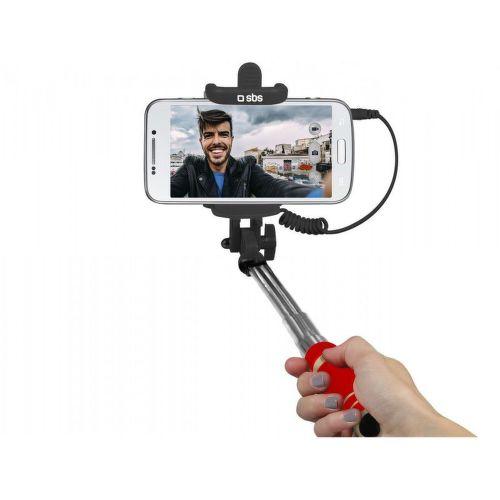 SBS mini selfie tyč s 3,5 mm konektorem 50 cm, červená
