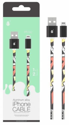 Aligator Plus Lightning kabel 2 A 1m, černá s motivem