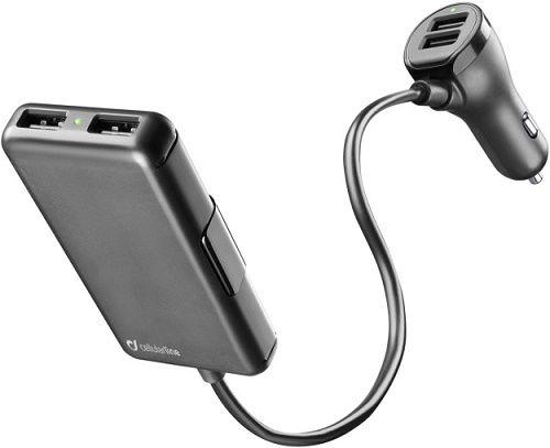 CellularLine autonabíječka 4x USB 7.2A, černá