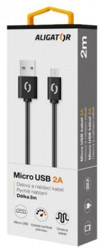 Aligator datový kabel microUSB 2A 2m, černá