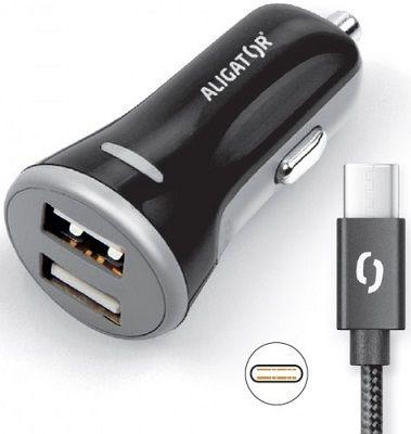 Aligator 2x USB 3,4A Smart IC autonabíječka + USB-C kabel, černá