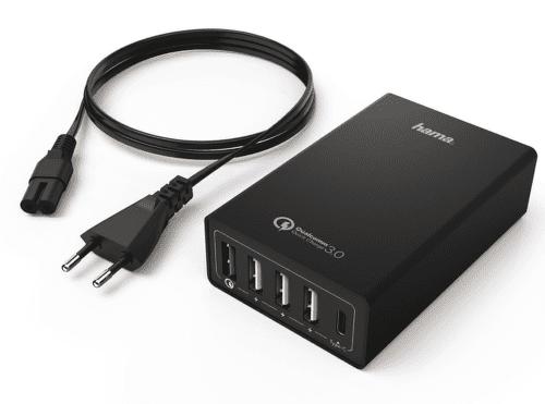 Hama 4x USB USB-C QC 3.0 40 W stolní nabíječka, černá