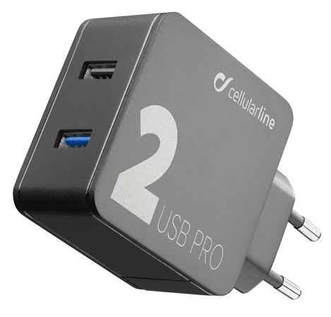 CellularLine Multipower Pro síťová nabíječka 2xUSB 30W, černá