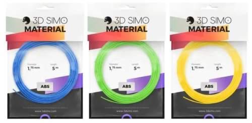 3Dsimo ABS filament 1.75mm 3x 5m (žlutý, modrý, zelený)