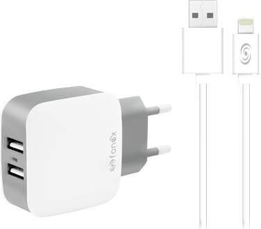 Fonex 2x USB nabíječka + kabel USB/Lightning, bílá