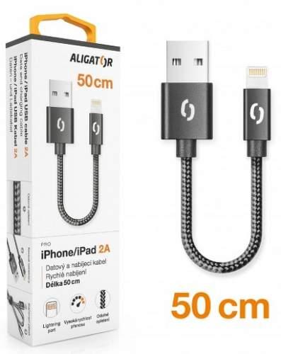 Aligator Premium Lightning kabel 2A 50 cm, černá