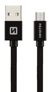 Swissten microUSB kabel 20 cm, černá
