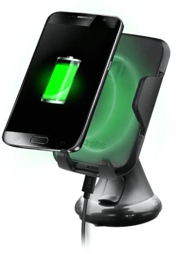 SBS Wide Line držák s bezdrátovým nabíjením, černá