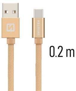 Swissten USB/USB-C kabel 0,2 m, zlatá