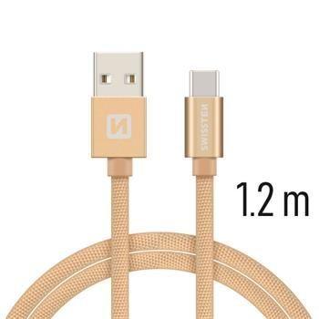 Swissten USB/USB-C kabel 1,2 m, zlatá