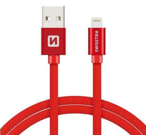 Swissten Lightning datový kabel 1,2m červená